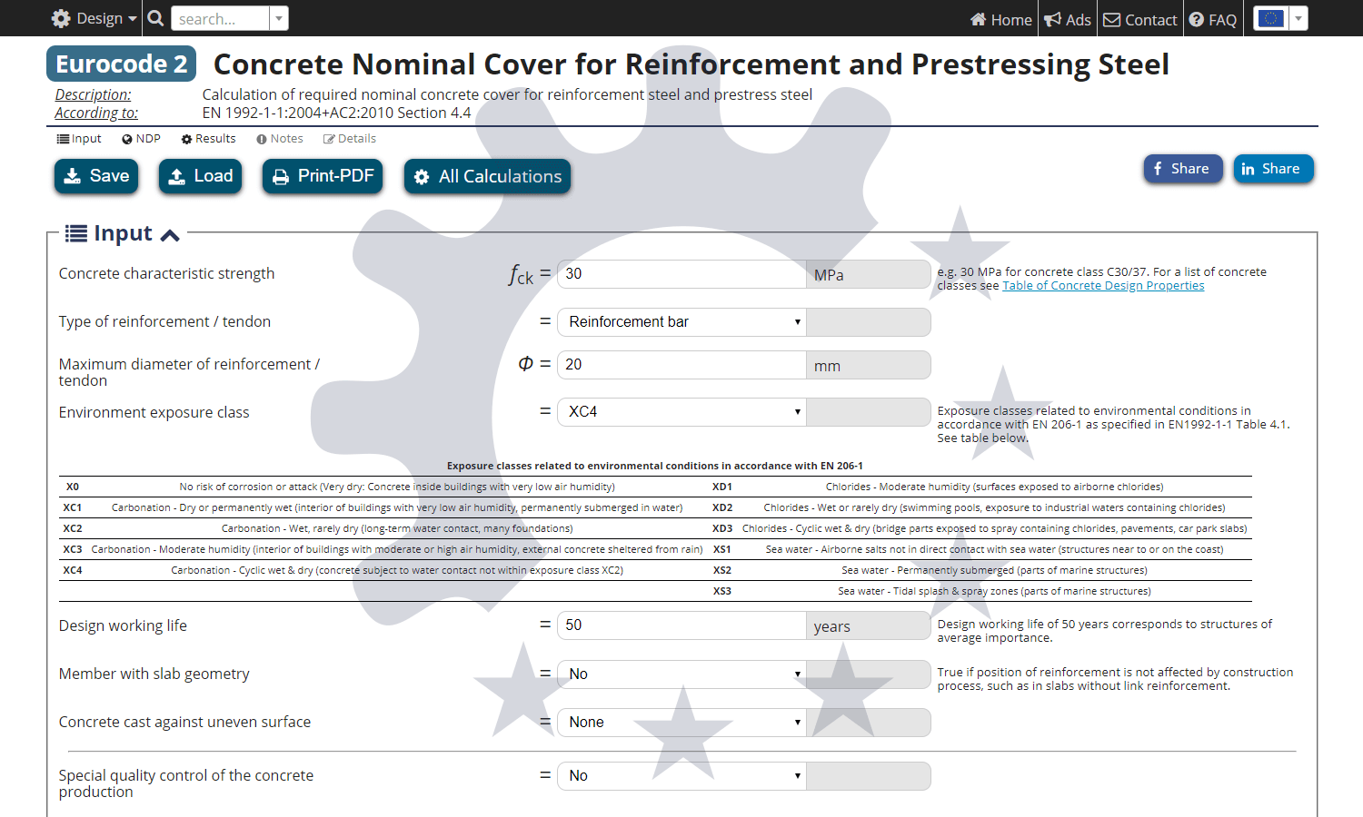 Calculation of concrete nominal cover for reinforcement - Eurocode 2