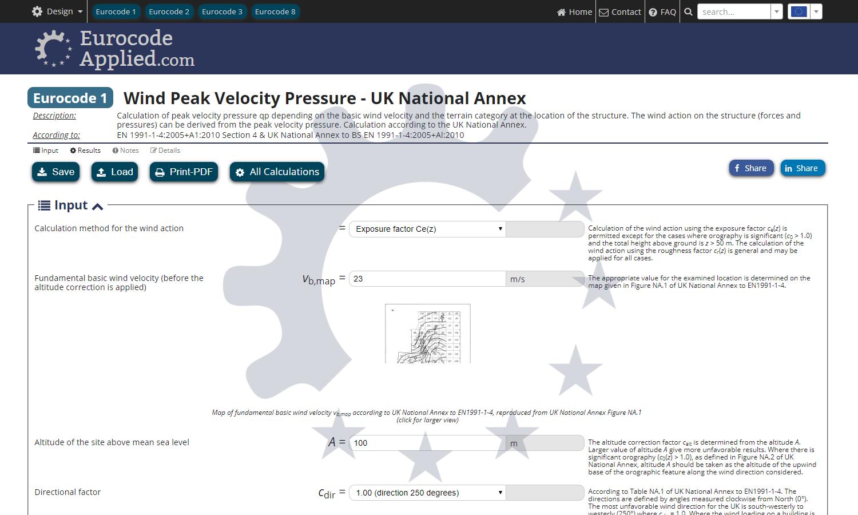 Calculation of wind peak velocity pressure - UK National Annex