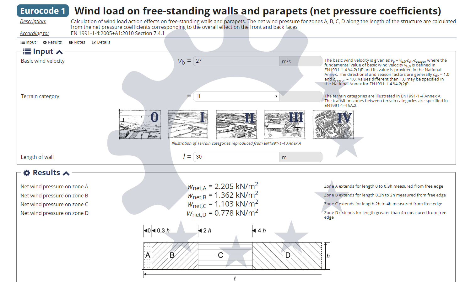 Calculation of wind load on free standing walls & parapets